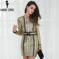 Missord 2016 Sexy O Neck Long Sleeve Sequin Belt Rope Dress FT4935