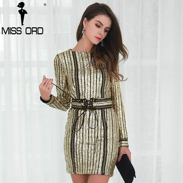 Missord 2018 Sexy O-neck long sleeve sequin belt rope dress FT4935