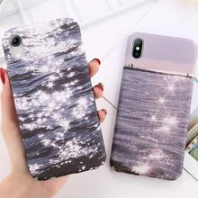 все цены на Glitter Sunshine Sea Phone Case For iPhone XSMAX XR XS X 8 7 6 6S Plus Matte Hard PC Back Cover For iPhone 7 6 6S Plus Coque