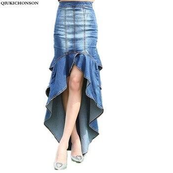 Vintage Ruffle Skirt Summer Women 2018 Korean Fashion High Waist Jeans Skirts High Low Ladies Bodycon Denim Mermaid Skirts ruffle trim high waisted high low skirt