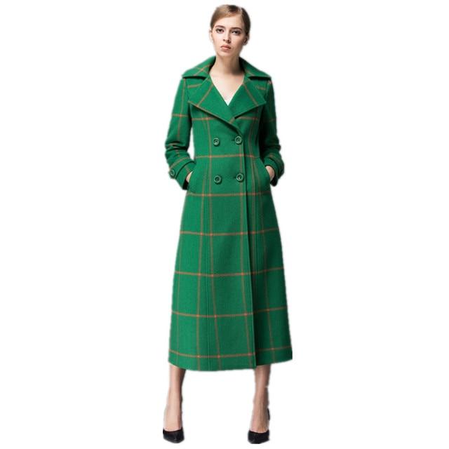 Long green coat women's