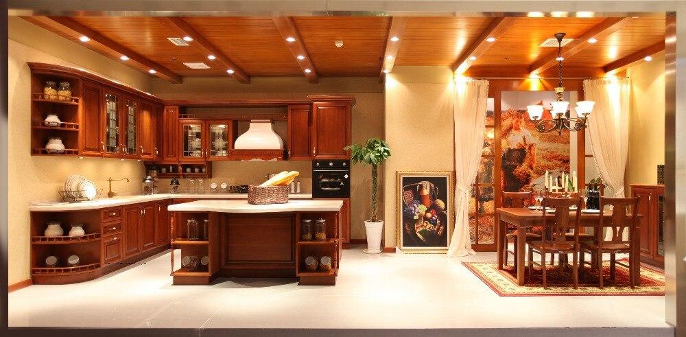 Твердой древесины встроенные кухни шкафы (LH SW061)