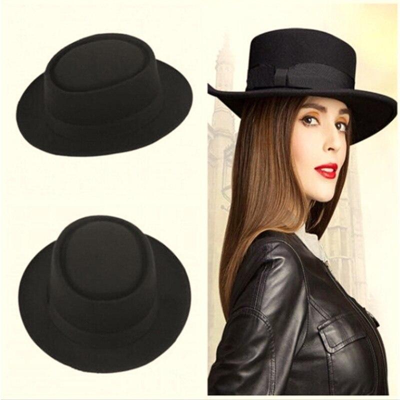 Detalle Comentarios Preguntas sobre 9 color moda unisex Classic Fieltro  Pork Pie porkpie hat Cap upturn feodora sombreros de ala corta la cinta  Band negro ... a580ab00cb1