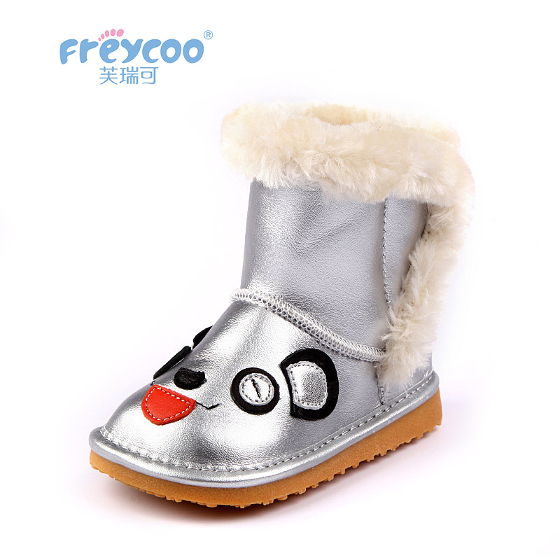 Freycoo 2019 New Winter Baby Girls Shoes Boys Cowskin Genuine Leateher Cotton-padded Boots For Kids Shoes 1-3 Years old6225