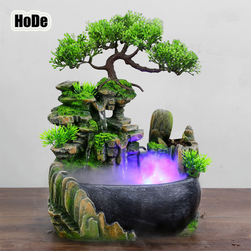 HoDe créative d\'intérieur Simulation résine Rockery cascade Statue Feng  Shui fontaine d\'eau maison jardin artisanat