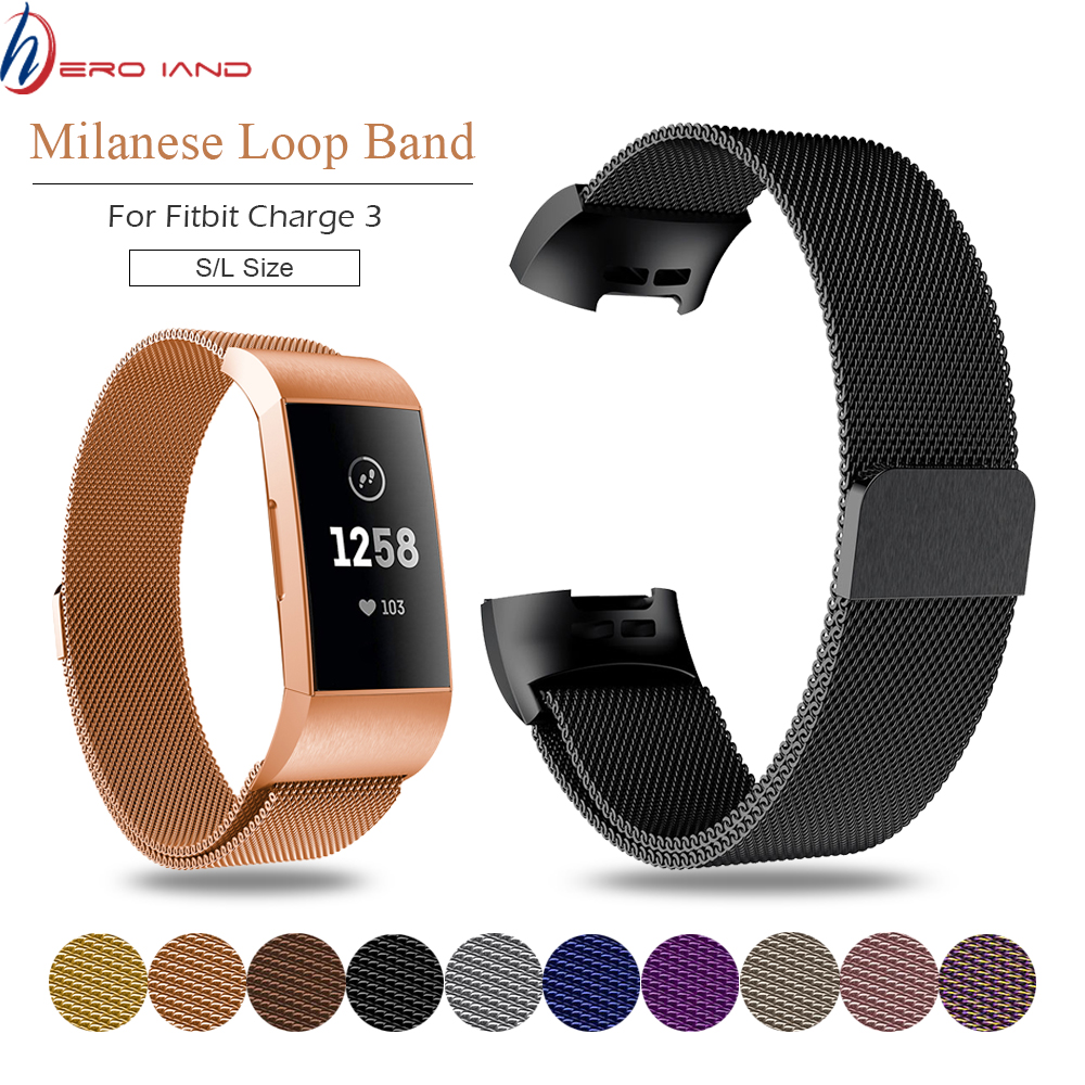 HeroIand Metal Stainless Strap For Fitbit Charge 3 Band Milanese Loop Magnetic Fitbit Charge3 Strap Smart Bracelet For Women Men