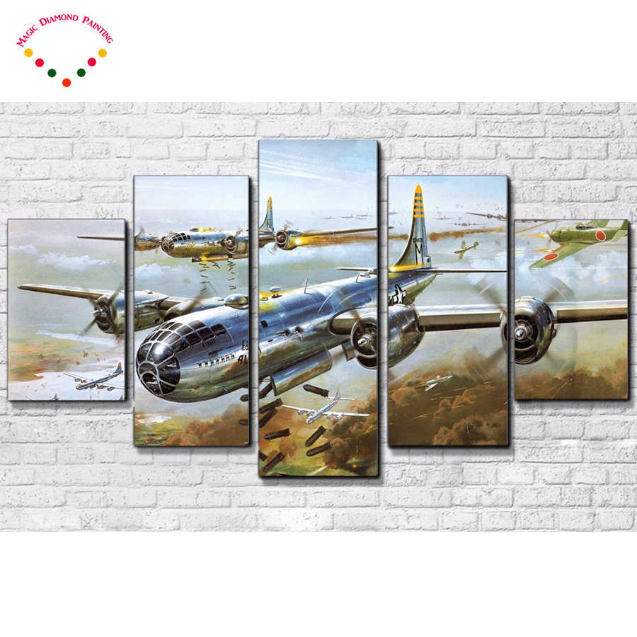 5d diy 5 Pieces Aircraft Landscape Poster Square/round Creek Diamond Painting Diamond Embroidery Cross Stitch,Mosaic,stickers,
