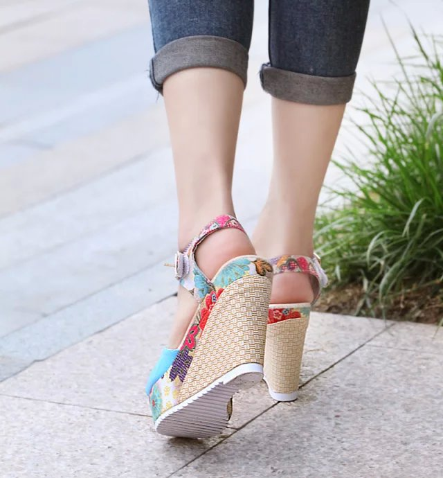 2019 Women Sandals Summer Platform Wedges Casual Shoes Woman Floral Super High Heels Open Toe Slippers Sandalias Zapatos Mujer