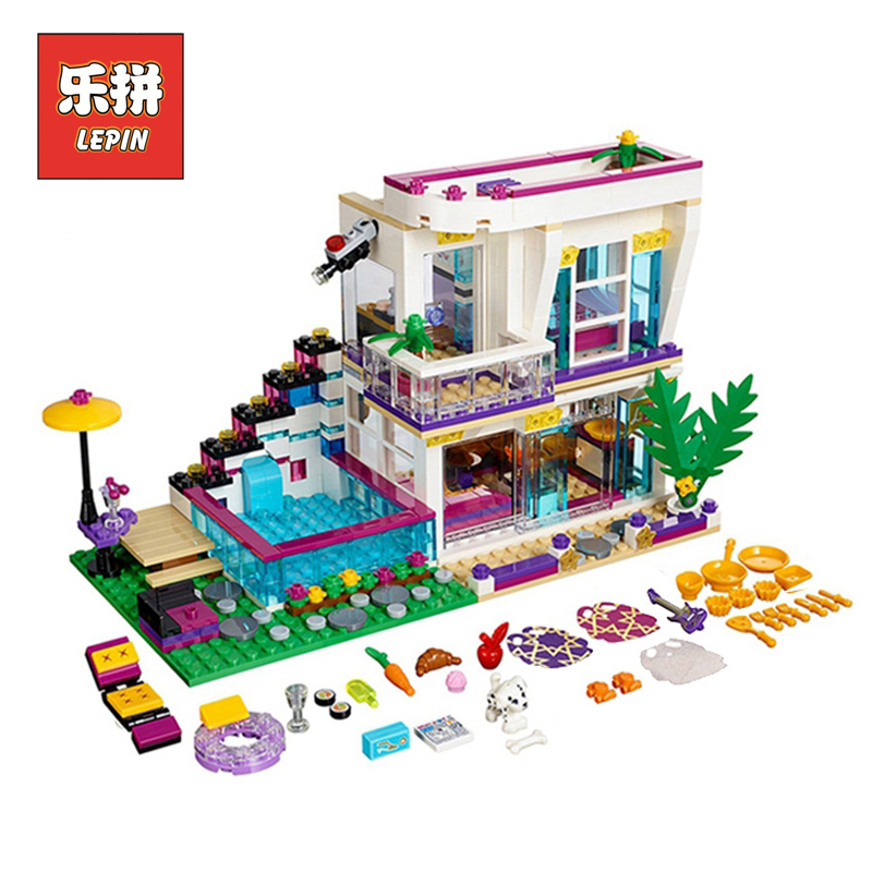 lepin 01046 Friends Girl the Singer Villa House DIY Set Model Building Kits Blocks Bricks Children Educational Toys Gift 41135 little white dragon assembling toys educational toys girl fantasy girls beach villa 423