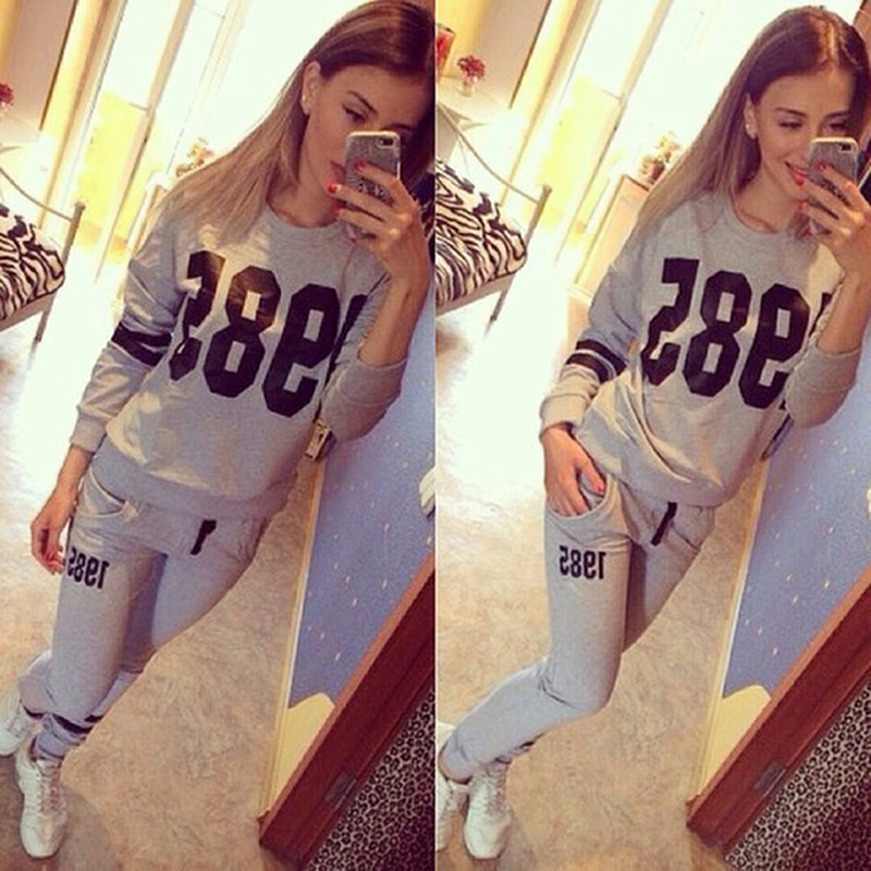 Hengsong 2018 New Women Autumn Letters Print O-Neck Casual Sweatshirt +Trouser Women's 2 Piece Set Tracksuit Suit 903356