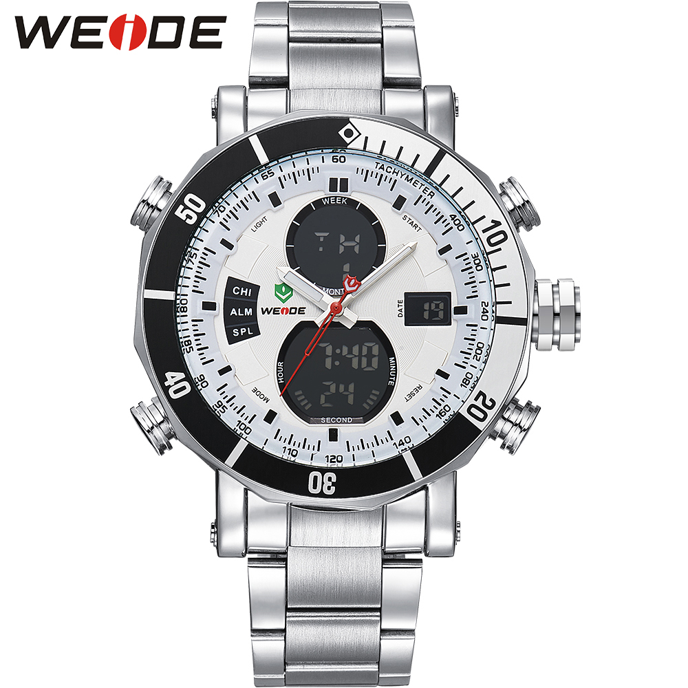 WEIDE Original Brand Watches Men Sport Quartz Analog Digital Display Full Stainless Steel Famous Logo Watch With Gift Paper Box weide top brand men led sport watch analog digital display 3atm waterproof stainless steel quartz movement wristwatch men gifts