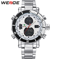 WEIDE Original Brand Watches Men Sport Quartz Analog Digital Display Full Stainless Steel Famous Logo Watch With Gift Paper Box