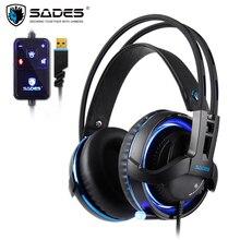 SADES Diablo Realtek Effect Gamer słuchawki RGB gamingowy zestaw słuchawkowy słuchawki z chowanym mikrofonem