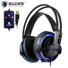 SADES Diablo Realtek Effetto Gamer Cuffie RGB Gaming Headset Cuffia con Microfono Retrattile