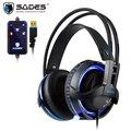 SADES Diablo Realtek Wirkung Gamer Kopfhörer RGB Gaming Headset Kopfhörer mit Versenkbare Mikrofon-in Handy-Ohrhörer und Kopfhörer aus Verbraucherelektronik bei