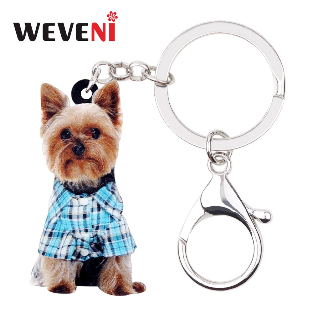 WEVENI Acrylic Cartoon Yorkshire Terrier Dog Key Chains Keychains Bag Bag Car Charms Animal Jewelry For Women Girls Teens Gift