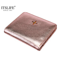 New Arrival Women Genuine Leather Flower Pattern Small Wallet Short Compact Bi Fold With Zipper Coin