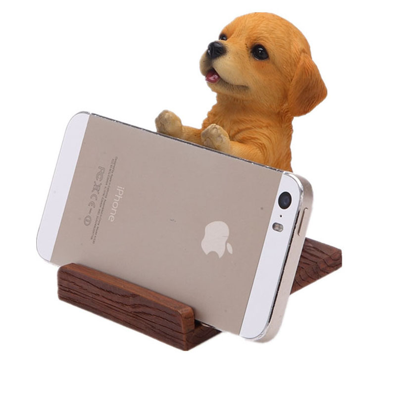 Universal Cell Phone Holder Wood Grain Resin 3d Kongfu Cute Pet Smart Dog Desk Decor Stand Bracket For Iphone 5 6 7 8 X Plus Cellphones & Telecommunications Mobile Phone Holders & Stands