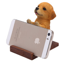 Mobile Phone Holder Universal Cell Stand Wood Grain Resin 3D Animal Cute Pet Dog Desk Decor Bracket For iPhone Samsung