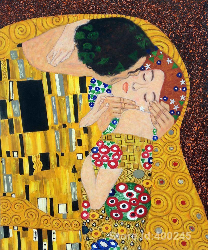 D'or Peintures by Gustav Klimt Le Baiser Détails Reproduction art peint À la Main de Haute ...