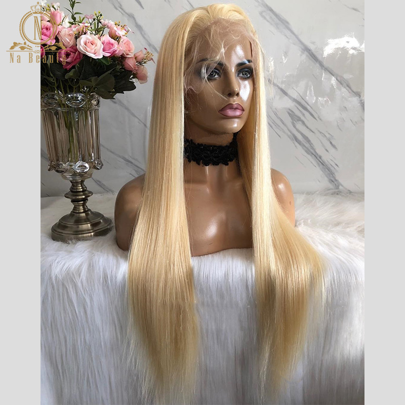 NaBeauty Wig For Women 613 Blonde Lace Frontal Wig Pre Plucked With Baby Hair Straight Brazilian Human Hair  Lace Front Wigs