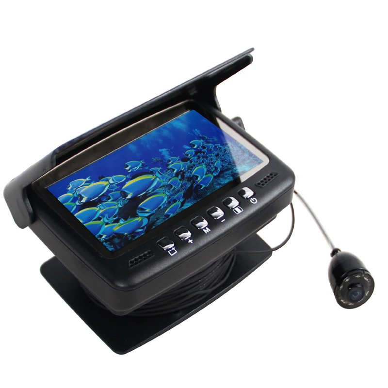 Super Mini 600TVL Underwater Camera with 15Meter AV/Power Cable & 8pcs White LED & 3.5 Digital LCD Monitor with Sun-Shade Cover 8 4inch 8 4 non touch industrial control lcd monitor vga interface white open frame metal shell tft type 4 3 800 600