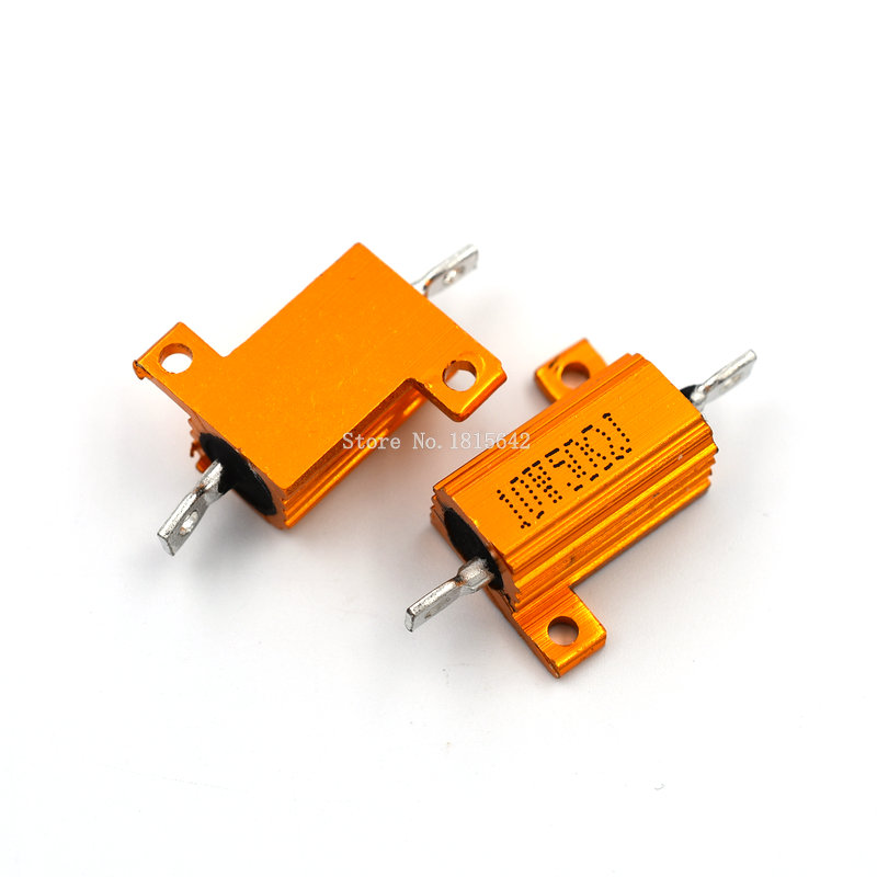 2PCS RX24 10W 50R 50RJ Wire Wound Resistor Metal Shell Aluminium Golden Resistor 10Watt 50 Ohm Heatsink Resistance