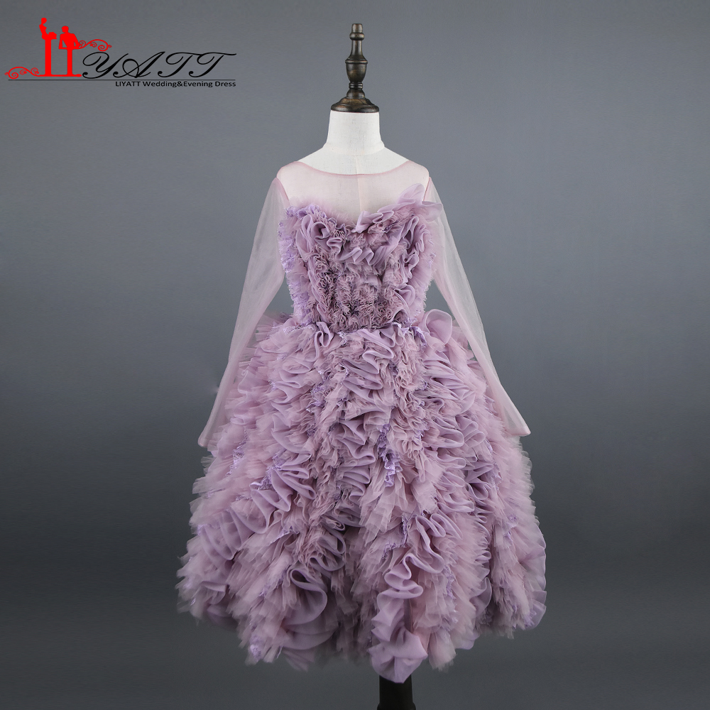 Real Photo 2017 Flower Girl Dress Dusty Pink Long Sleeves Ball Gown