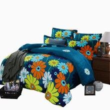 ARNIGU Fresh style Flannel Fleece Fabric Queen King size Winter warm Bedding set smooth Soft Sheet Pillowcase Duvet Cover sets