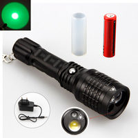 Tactical 2000LM LTS LED Hunting Rechargeable Zoom Flashlight Torch Green Laser+3000mAh Battery+Charger