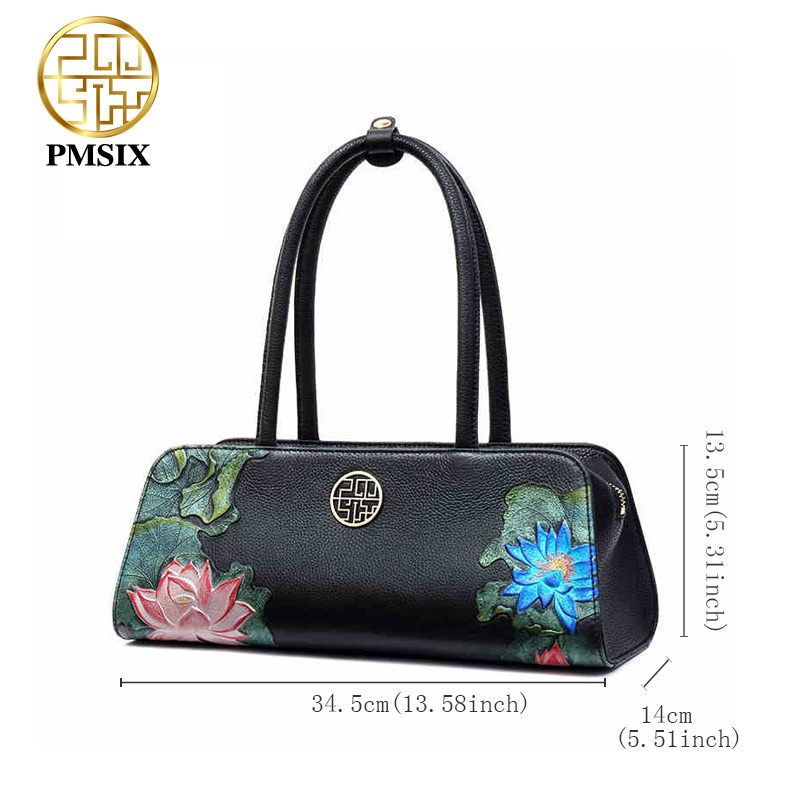 Pmsix Women 39 s Bags With Long Shoulder Straps Realer Genuine Leather Handbags Embossed Shoulder Bags Luxurious Ladies Black Bags in Top Handle Bags from Luggage amp Bags