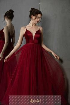 Simple Long Prom Dresses 2019 Deep V-Neck A-Line Formal Party Gowns Burgundy Evening Dress vestidos largos de robe de soiree 3
