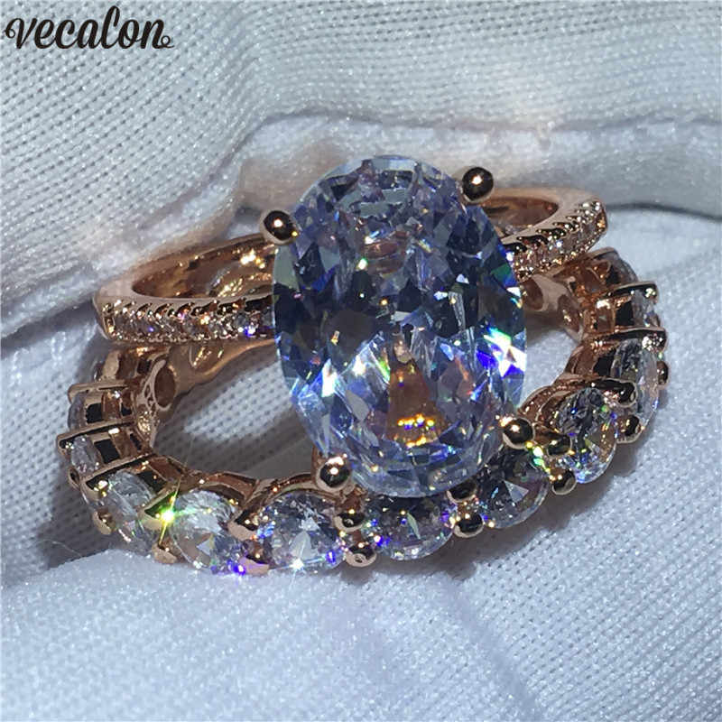 Vecalon Party Vinger Ring set Rose Gold Filled 925 zilveren ovale cut 5A Zirkoon Cz Party trouwringen voor vrouwen mode-sieraden