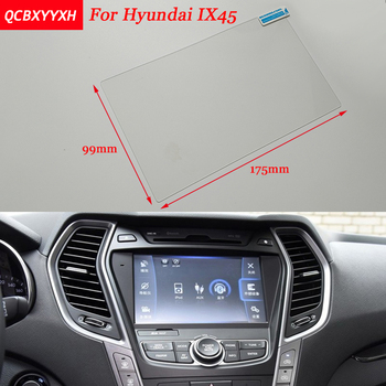Car Sticker 8 Inch GPS Navigation Screen Steel Protective Film For HYUNDAI Grand SANTAFE IX45 Control of LCD Screen Car Styling image