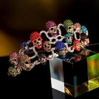 Tuliper Halloween Skull Bone Skeleton Hairband Head Tiara Crown Austrian Crystal Rhinestone Headband Women Party Jewelry Gift