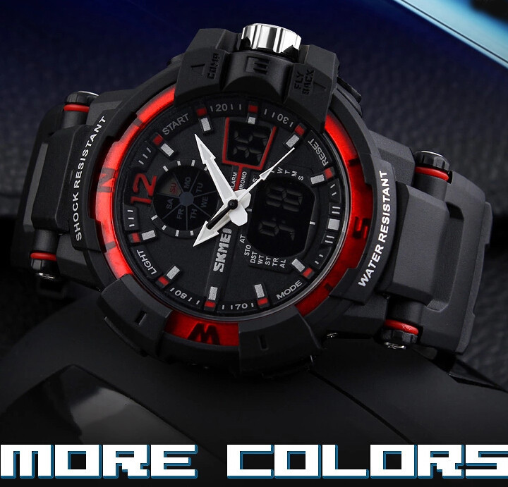 SKMEI 1040 Men LED Digital Quartz Military Watch Red