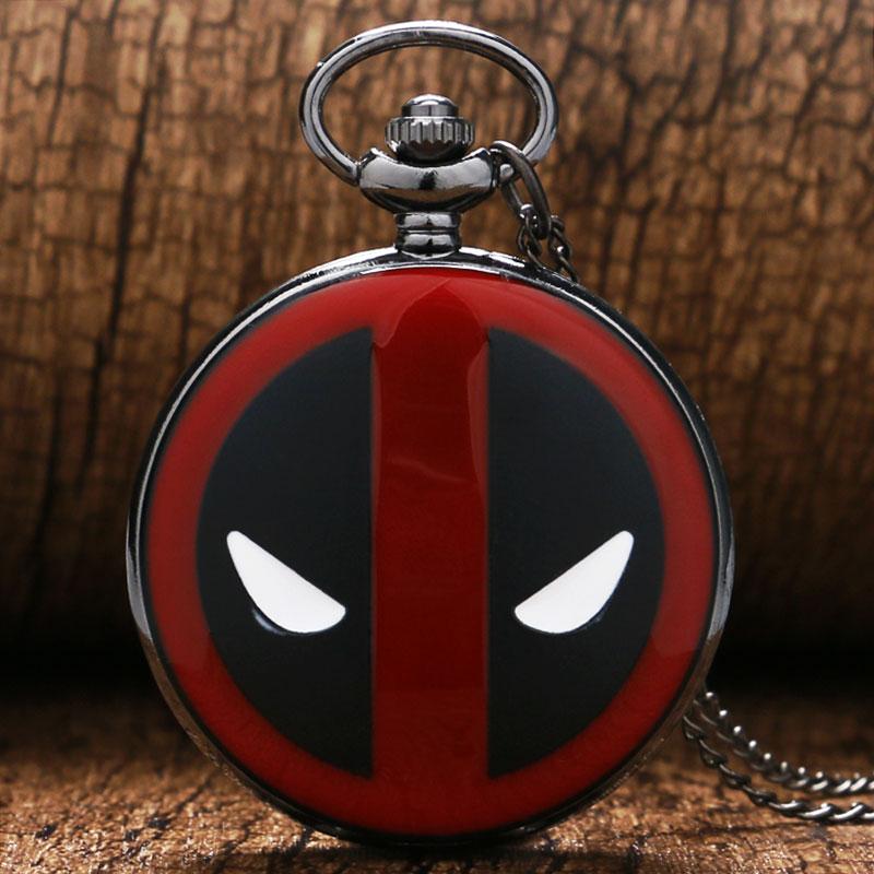 Cartoon Pocket Watch Deadpool Quartz Pendant Watches Necklace Chain Kids Gift P341