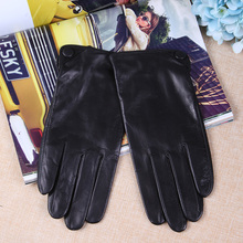 New Stylish Sheepskin Gloves Male Autumn Winter Thermal Genuine Leather Five Fingers Touchscreen Black Men Mittens TM27001
