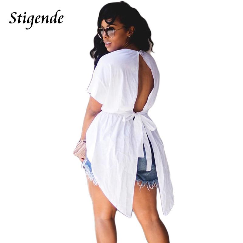 Stigende Women Irregular Shirt Short Sleeve Open Back High Low Shirt Sexy Ladies T Shirts O Neck Bandage Summer Casual Loose Top