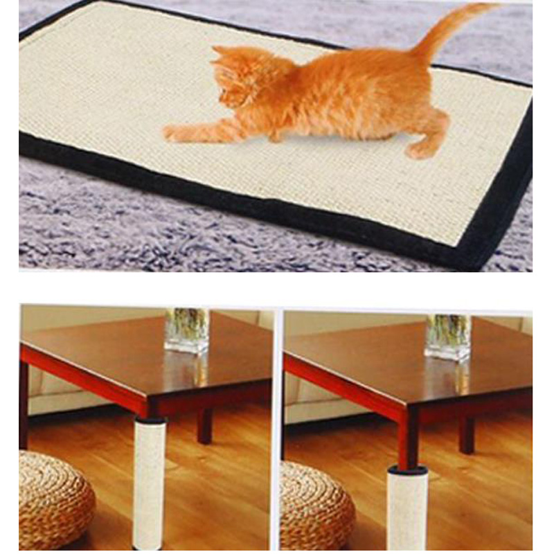 2 In 1 Cat Scratching Post Mat Wrap Around Furniture Foot Perfect Scratcher Tool Protect Furniture Floor Safe Natural Sisal