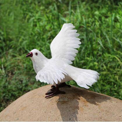 シミュレーションピジョン装飾鳥動物標本羽グレー白鳩ホームクリエイティブ手作り鳥 Modle 庭の装飾 05498