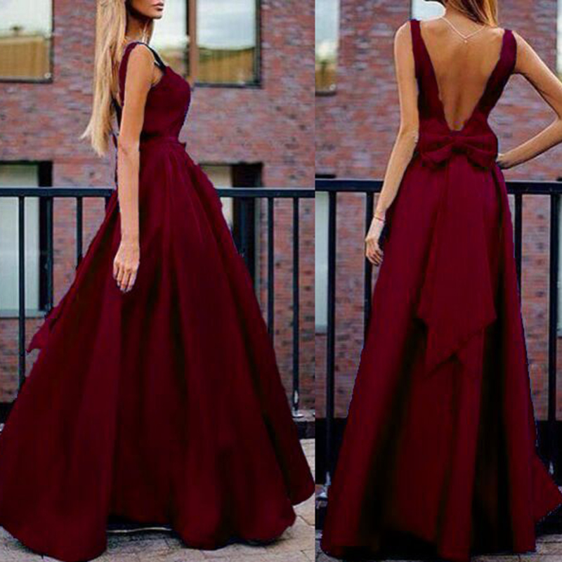 Sexy Graceful V-Neck dress Elegant Backless off shoulder Bowknot Long Maxi Dress Wedding evening Party Dresses