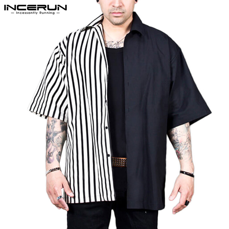 INCERUN 2020 Fashion Striped Patchwork Men Shirt Short Sleeve Personality Loose Lapel Neck Casual Brand Shirts Men Camisa S-5XL
