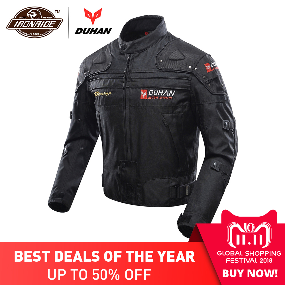 все цены на DUHAN Motocross Jacket Moto Windproof Cold-proof Men Motorcycle Jacket Armor Touring Motorbike Jacket Protective Gear Clothing онлайн