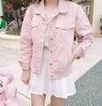 Estilo Punk Rosa Branca Básica Solto Denim Jaquetas Mulheres Com Mais de tamanho Gola Virada Para Baixo Outono Casaco Jaqueta Jeans Jaqueta Namorado casaco