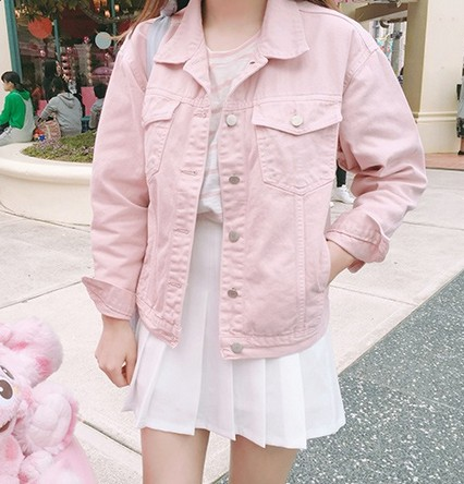Punk Style White Pink Loose Basic Denim Jackets Women Over Size Turn   Down   Collar Autumn Jeans Jacket   Coat   Boyfriend Jacket   Coat
