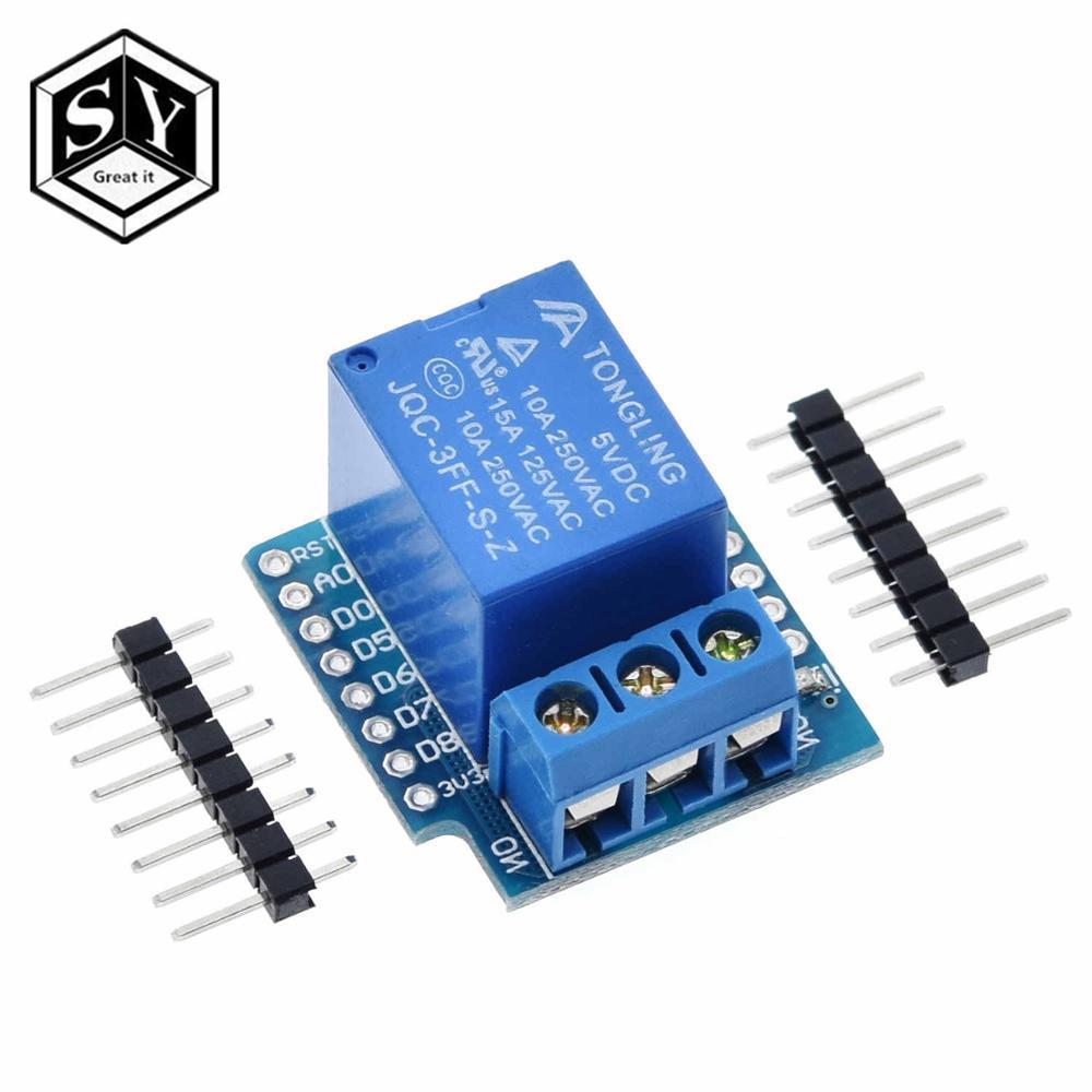 1 комплект, один канал Wemos D1, мини-Релейный Щит Wemos D1, мини-релейный модуль для платы разработки ESP8266, 1 канал