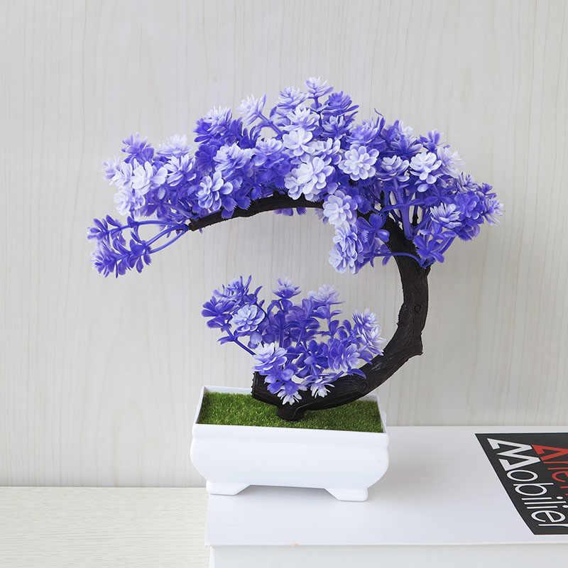 بيع تحية الصنوبر زهر الكرز الكرة بوعاء زهرة اصطناعية بونساي ثلاثية الأبعاد مهرجان المنزل وهمية الزهور الزينة