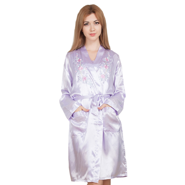 Embroidery Purple Twinset Robe Casual Nightgown Satin Rayon Nightdress 2019 New Kimono Gown Bathrobe Women 2PCS Negligee M-XL