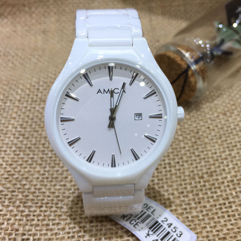 AMICA 2018 Fashion Women's Ceramic Waterproof Quartz Watch Lady Gift Watches Relogio Feminino Free Shipping 2453